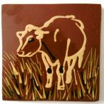slip trailed cow tile