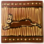 slip trailed running hare tile