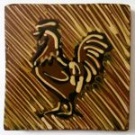 slip-trailed cockerel tile