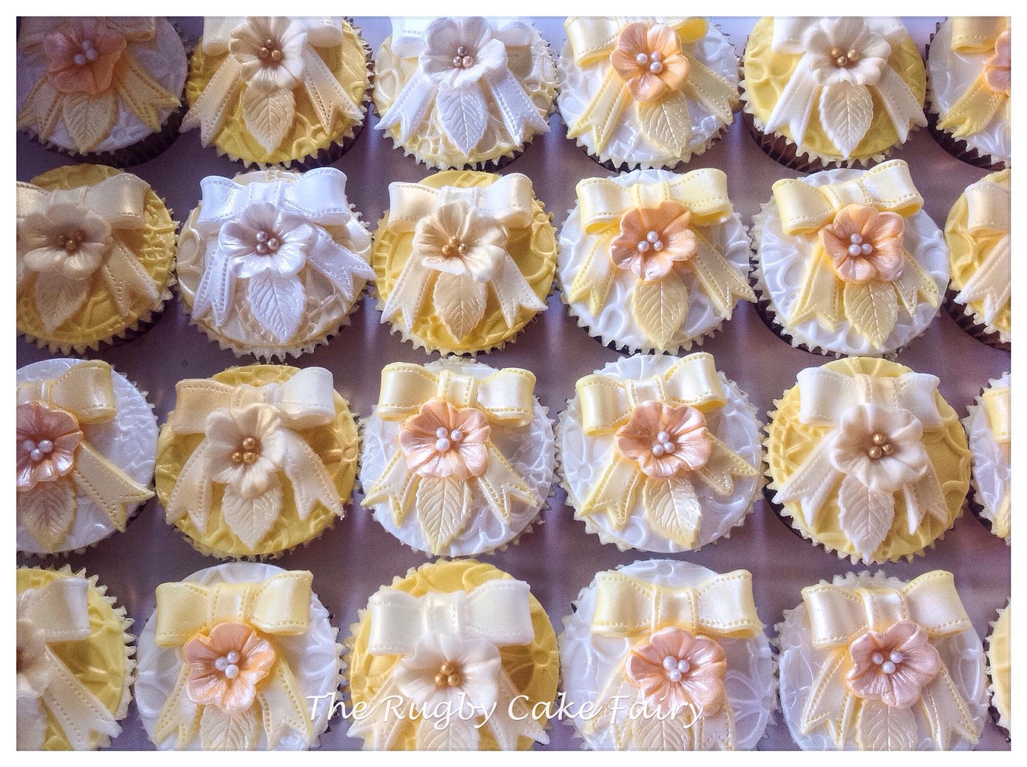 Gold ribbon cupcakes