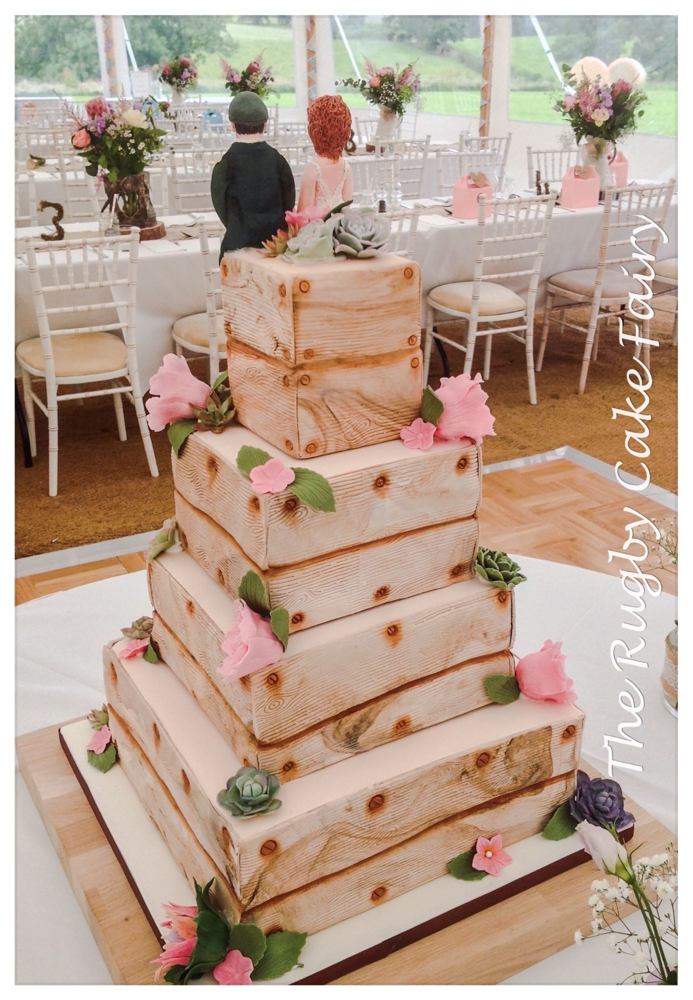 lemon crate wedding cake top tier rear