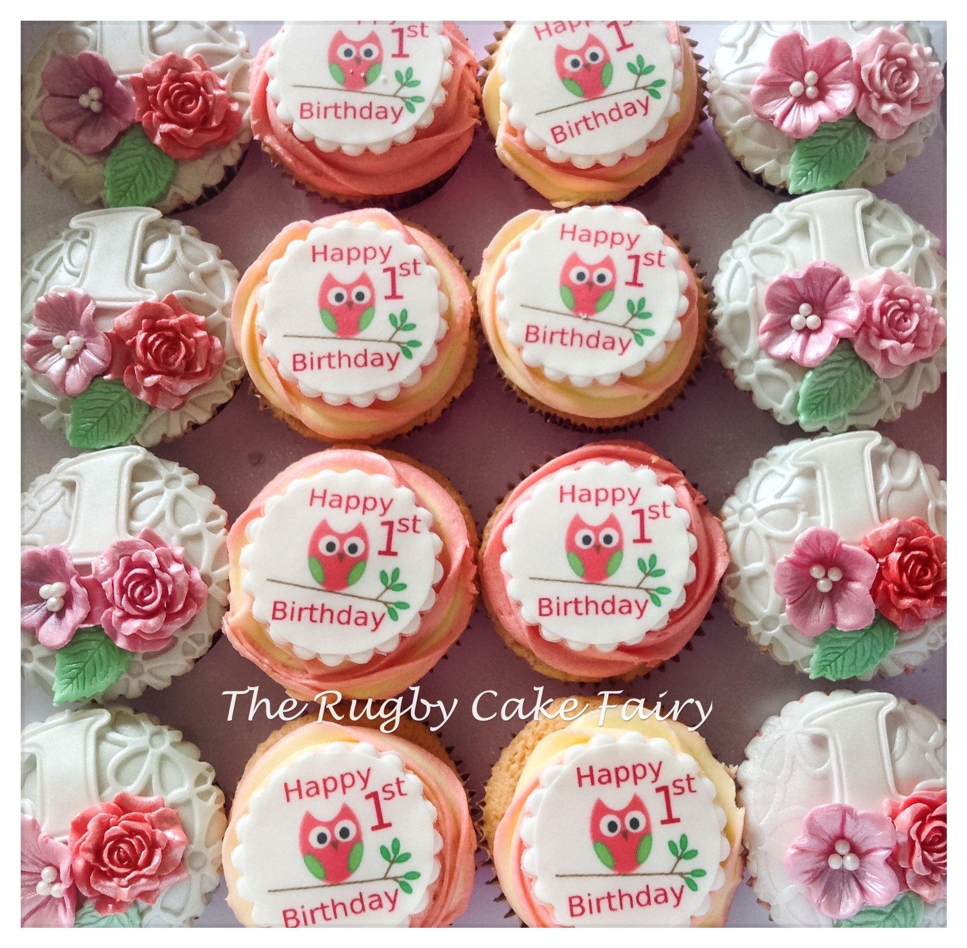 1st birthday cupcakes owl