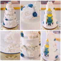 white rose and minion wedding cake