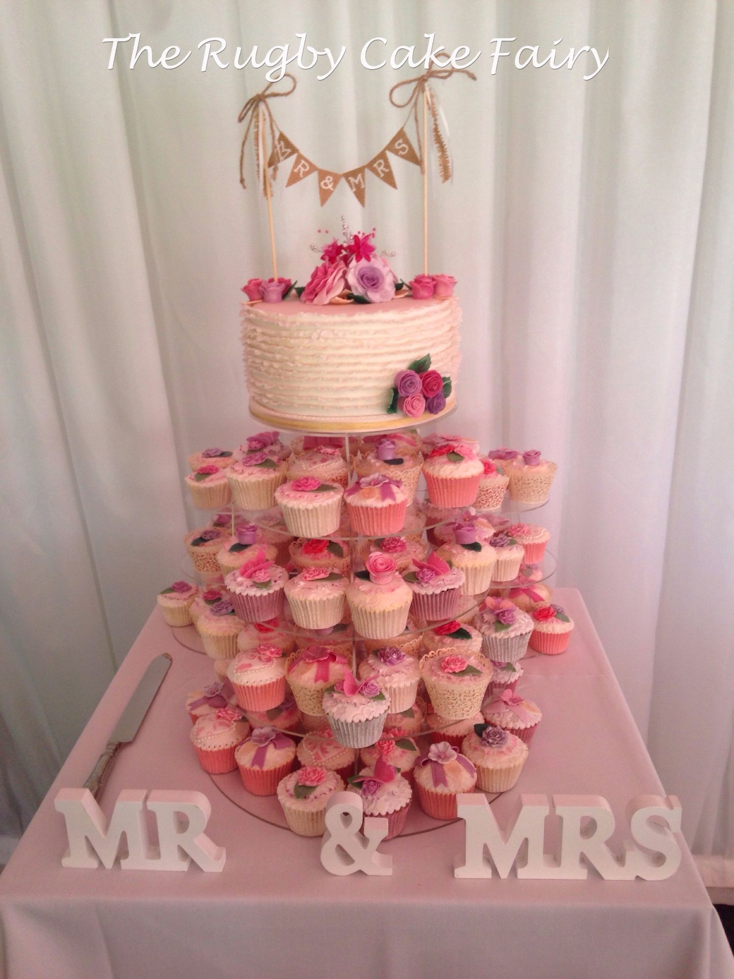 wedding cupcakes & top cutting cake
