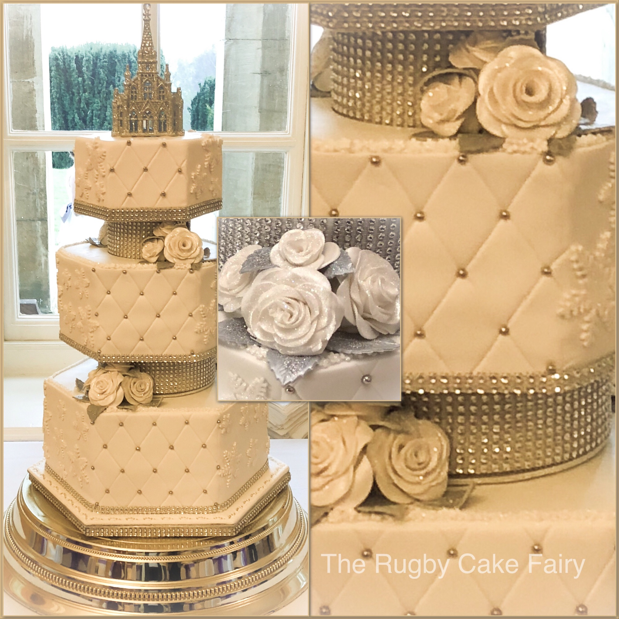 hexagonal cake collage