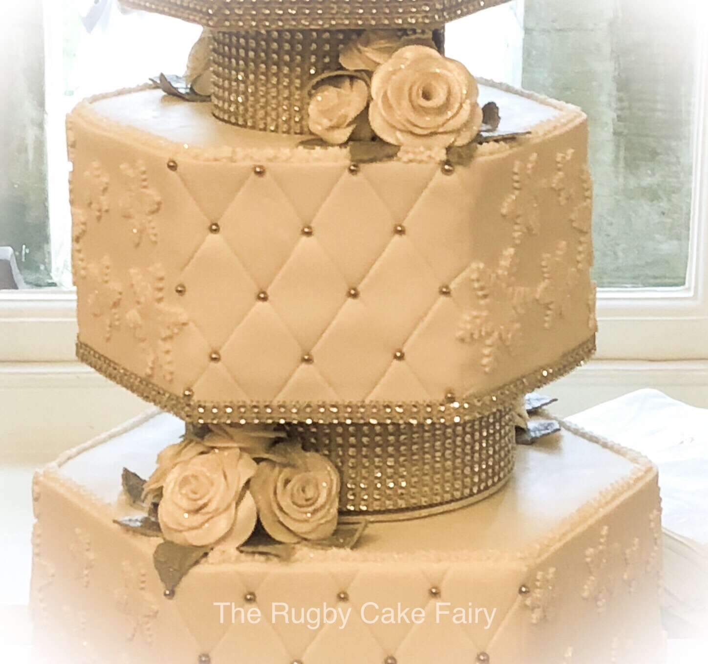 close up of hexagonal wedding cake