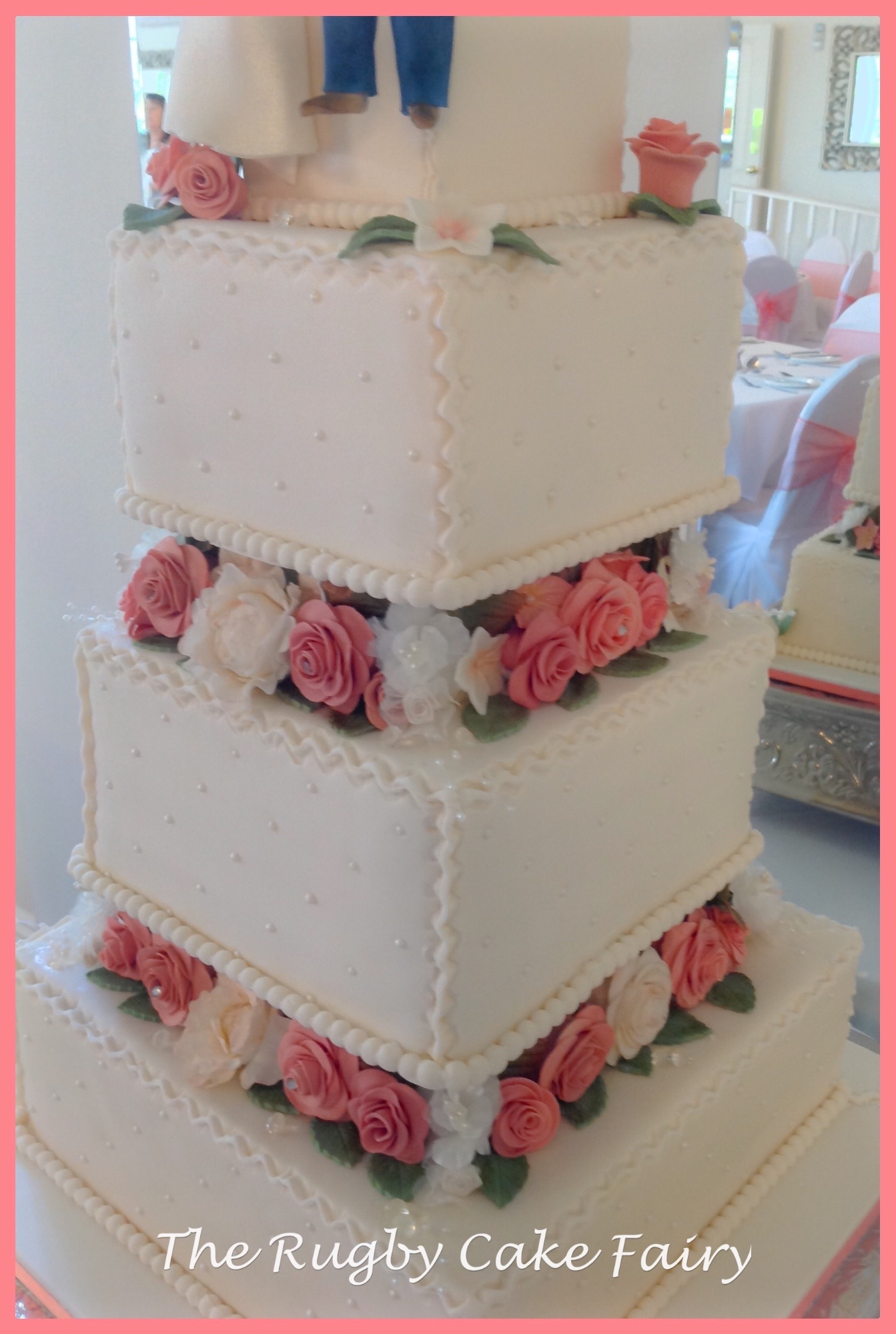 shell pink rose wedding cake