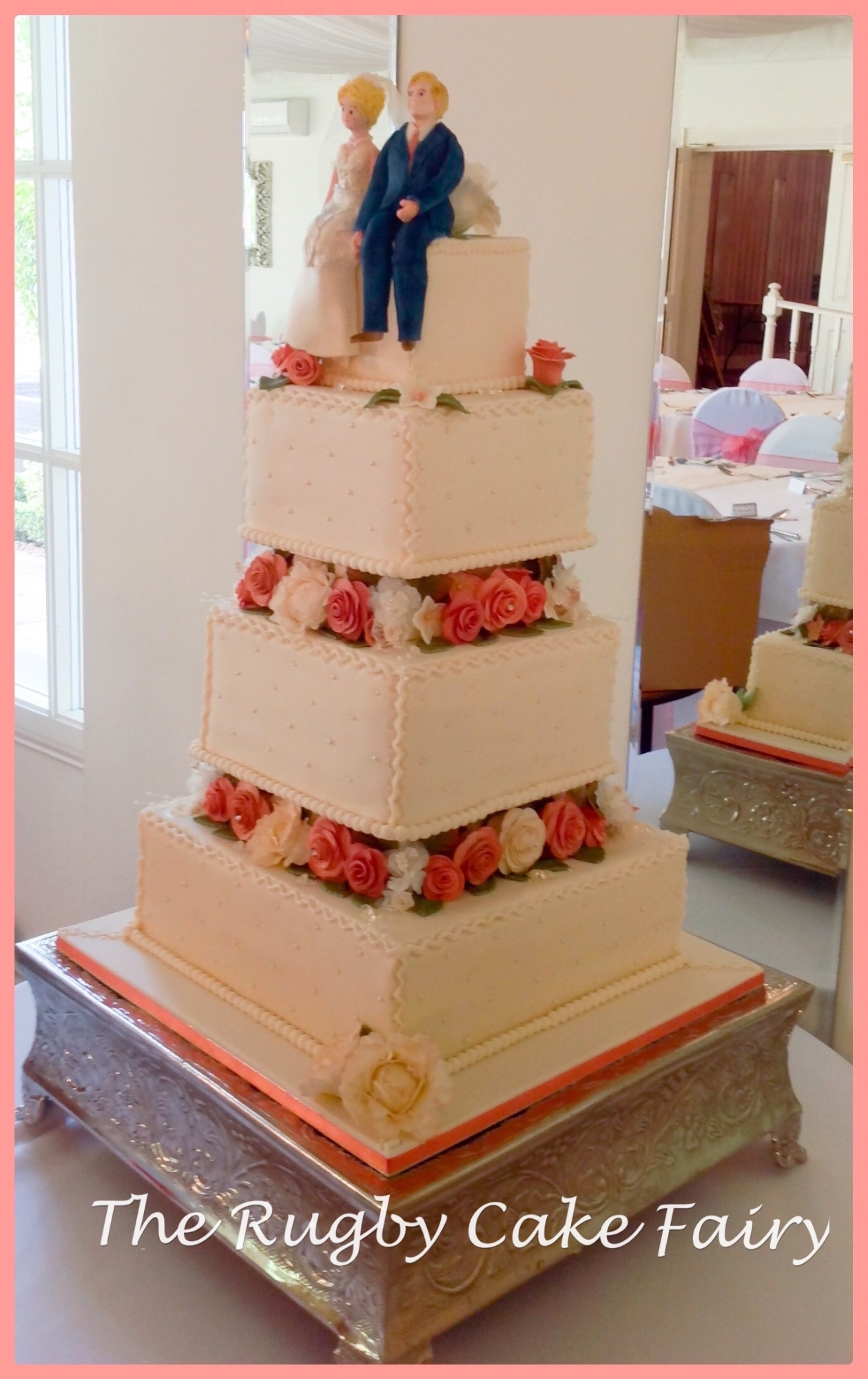 shell pink rose wedding cake side view