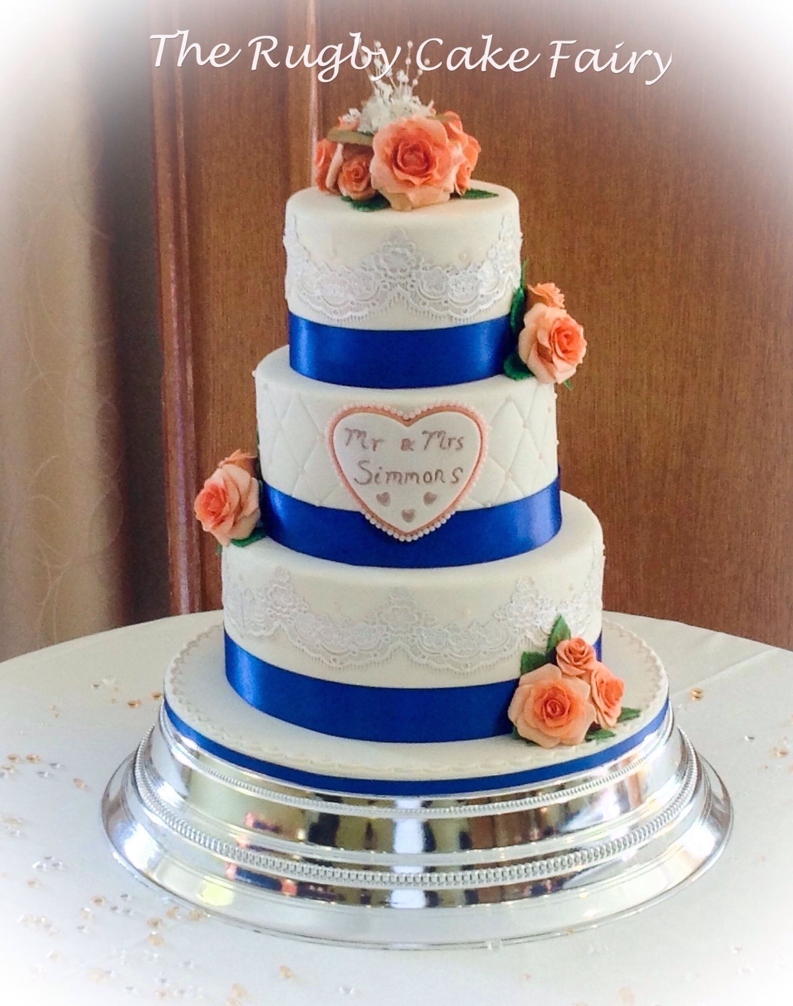 peach rose and lace wedding cake 1