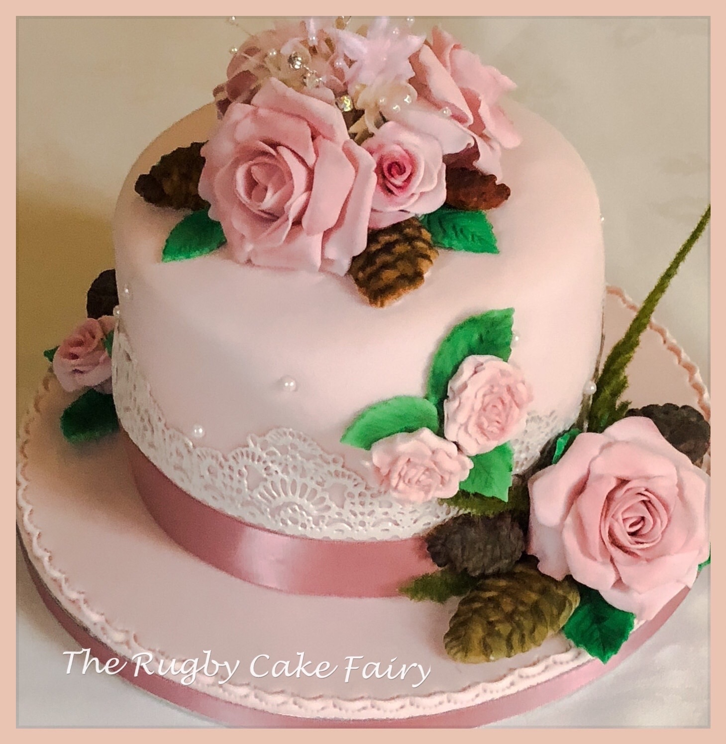 pink rose wedding cake 1