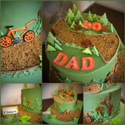 dad walking cake collage