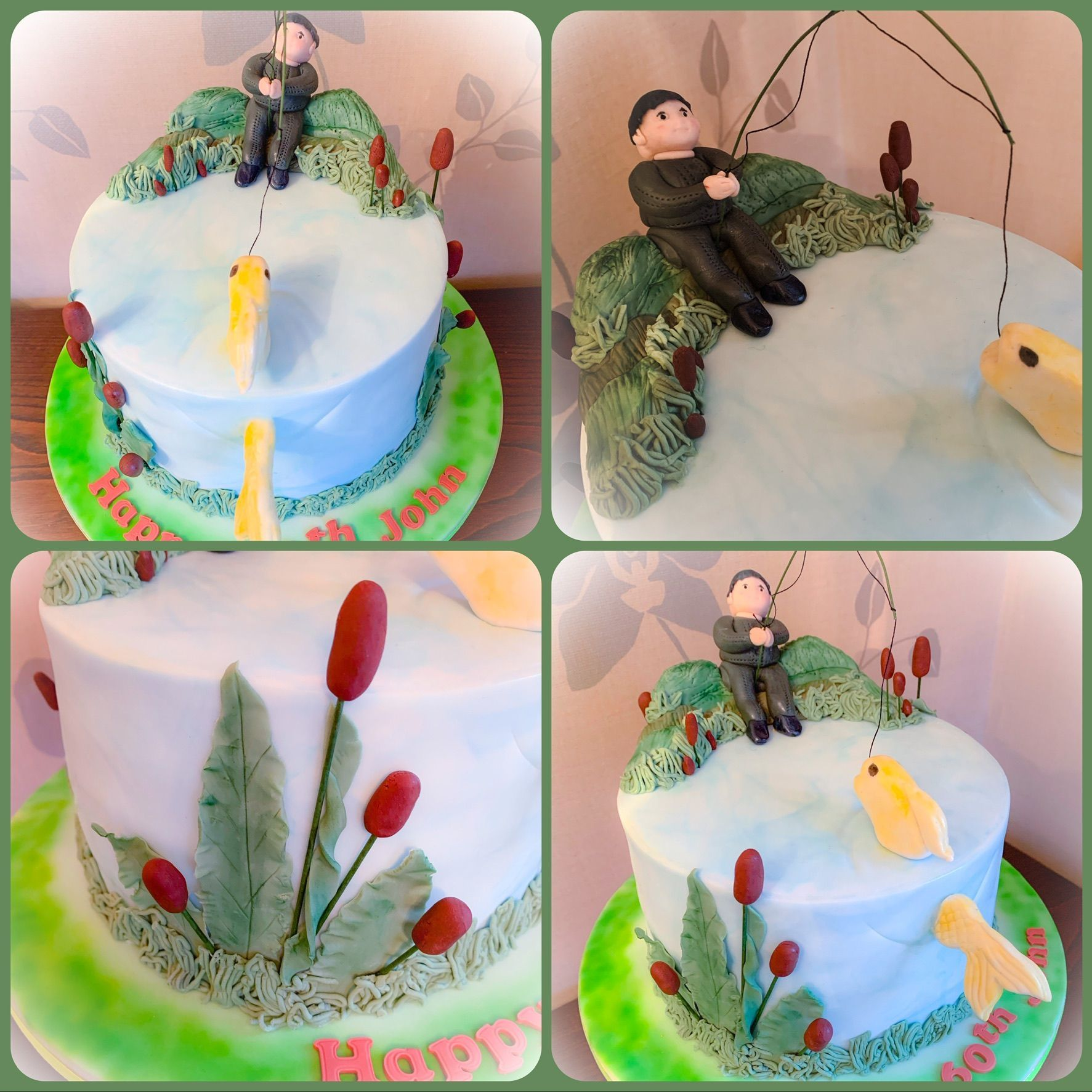 fishing cake collage