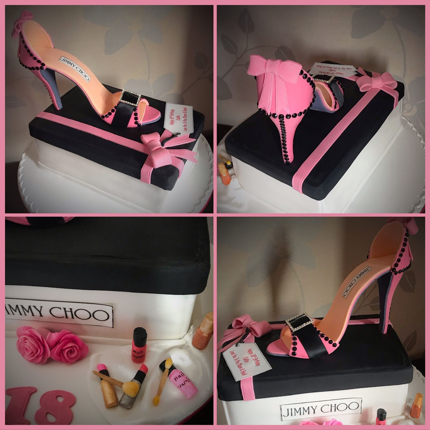 jimmy choo shoe cake collage