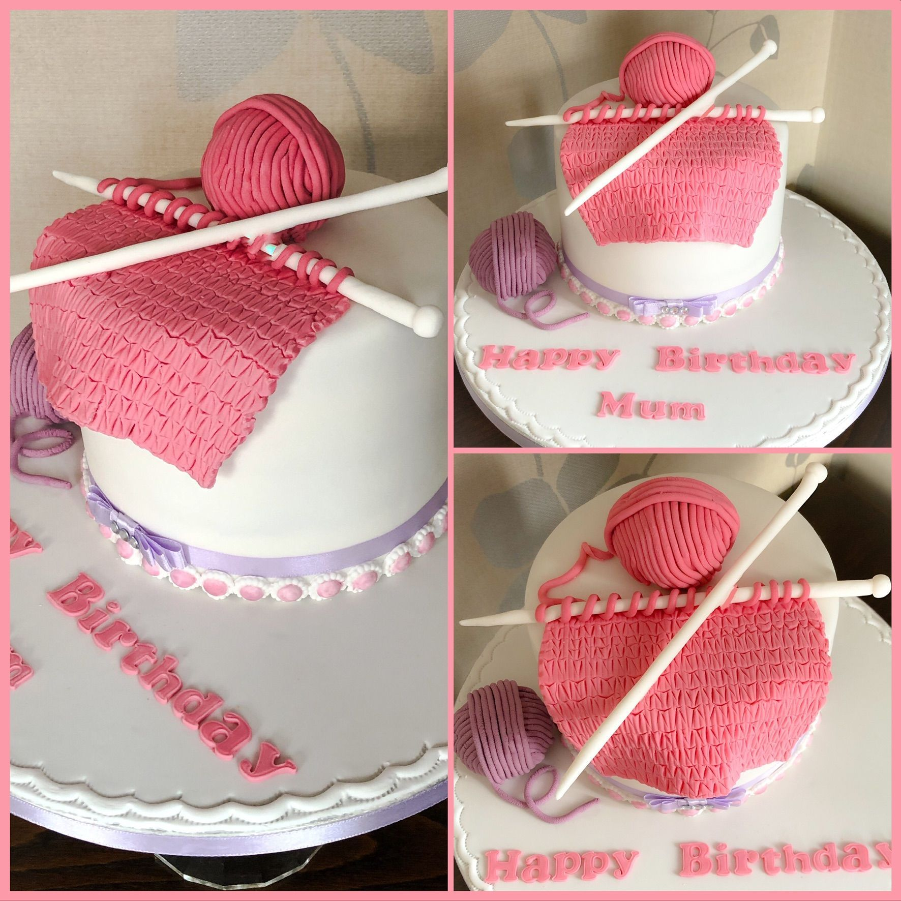 knitting cake collage