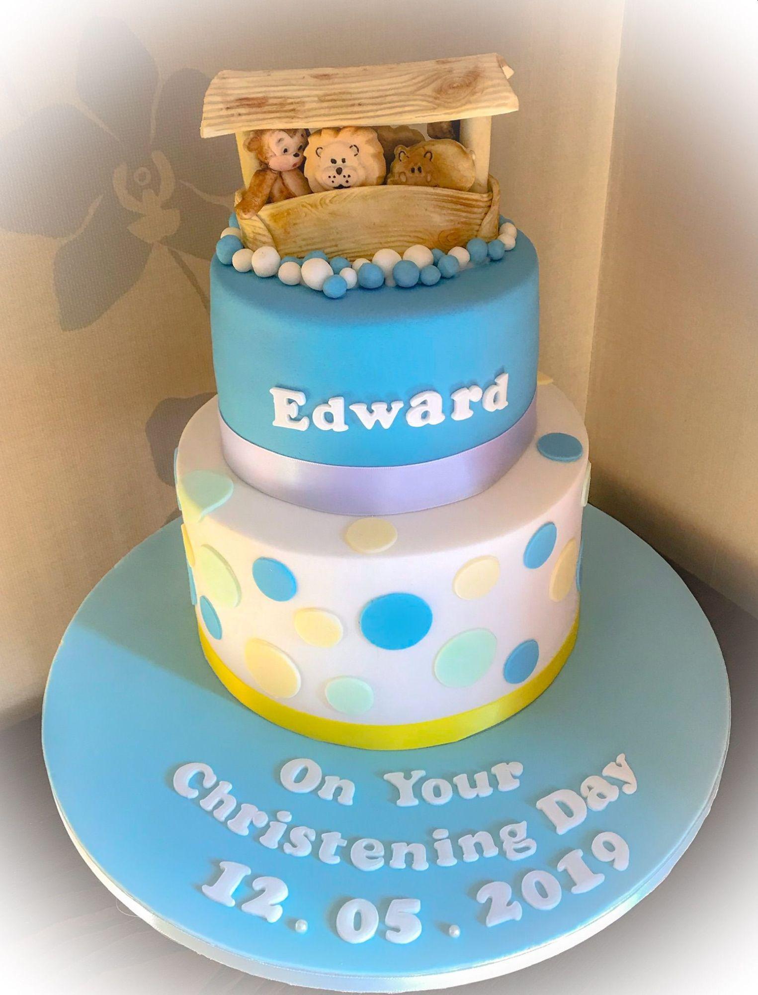 noahs ark christening cake #