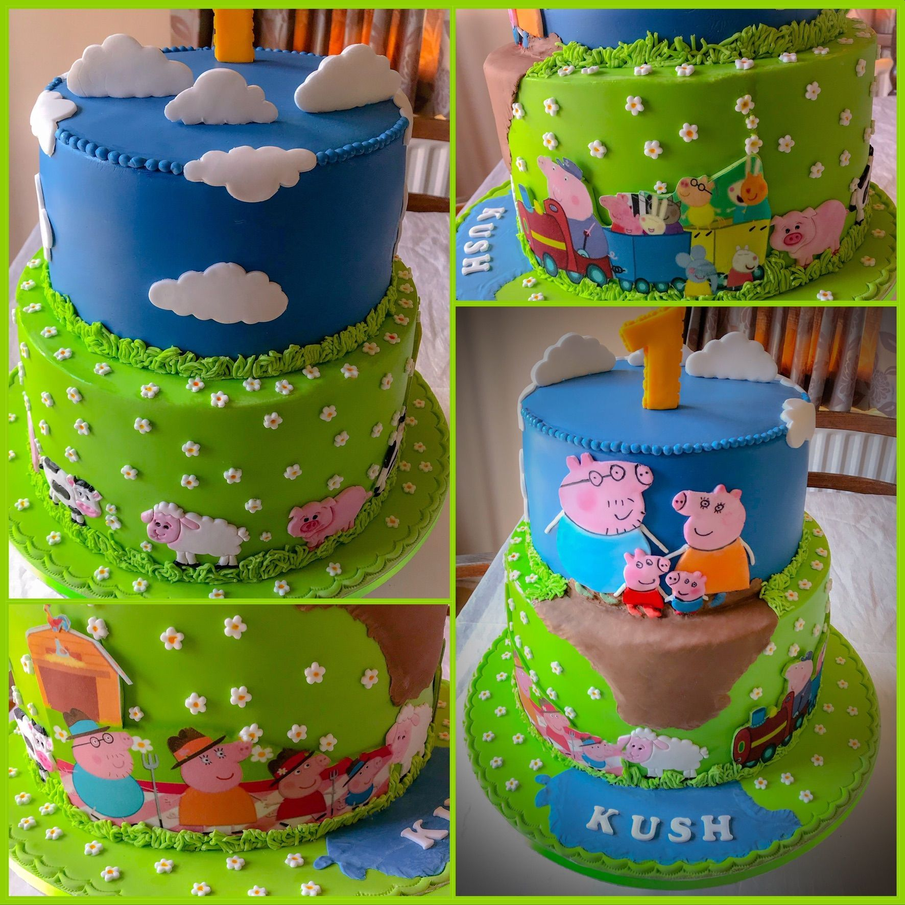 peppa pig cake collage#