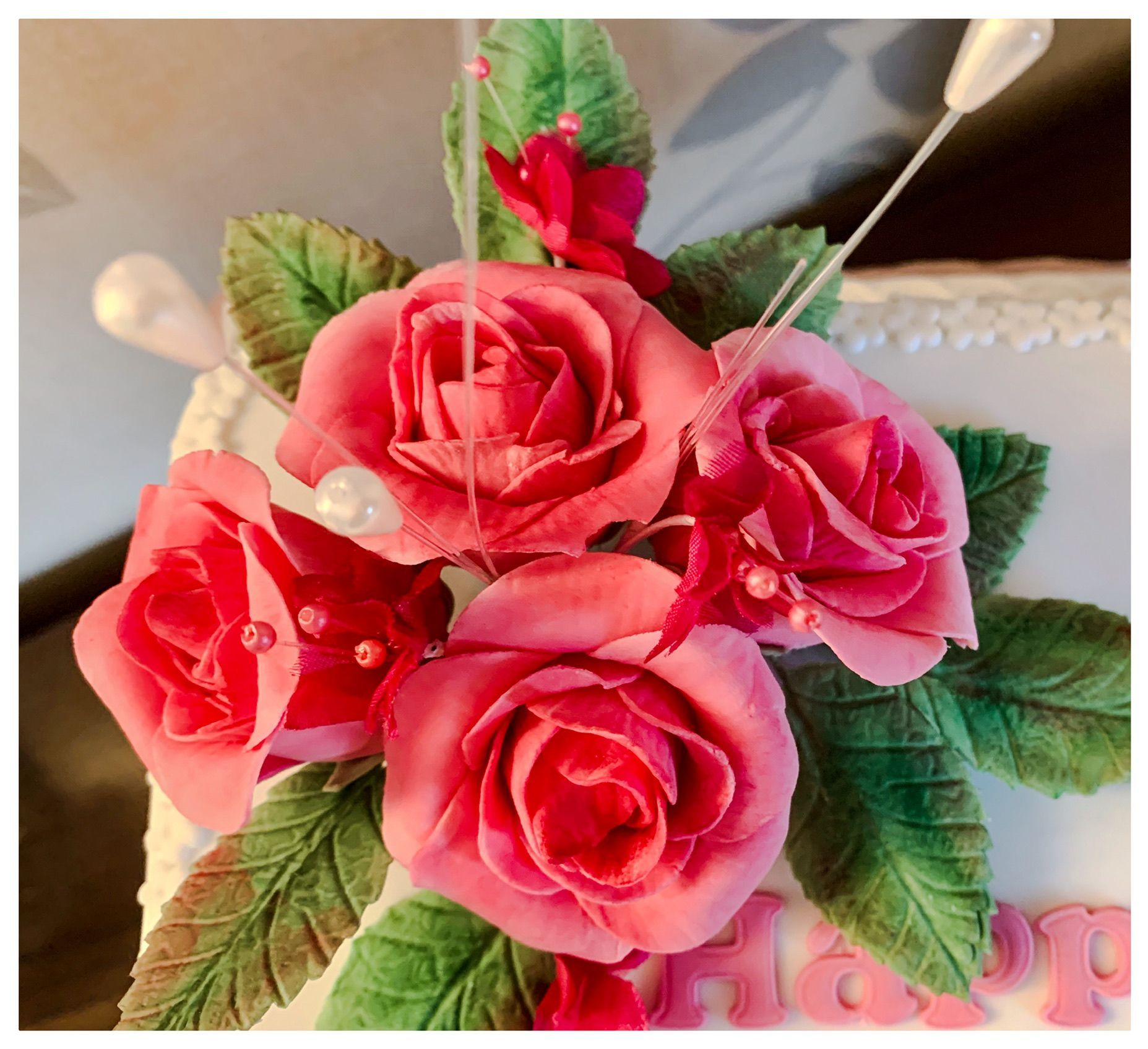 pink wired rose cake topper