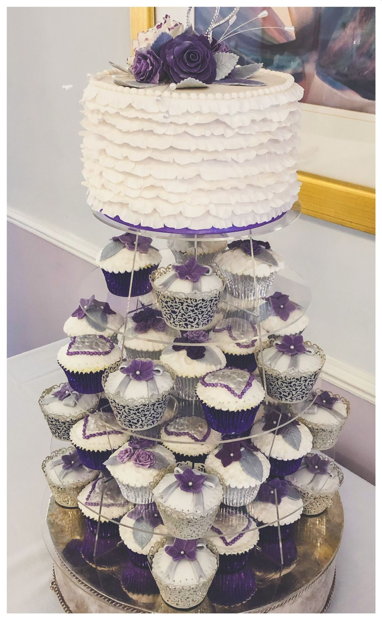 purple wedding cupcake tower and top cake