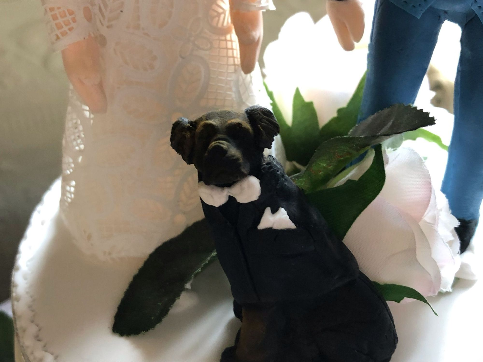 rottweiler wedding cake ring bearer