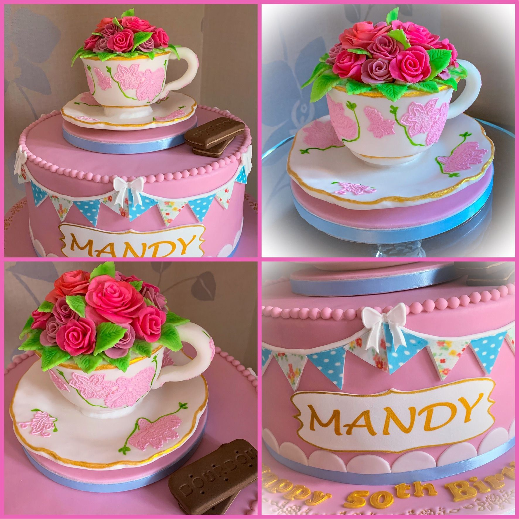 tea cup cake collage