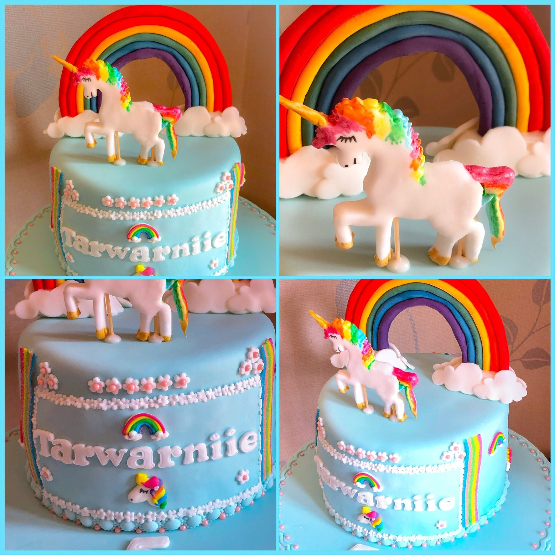 unicorn rainbow cake collage