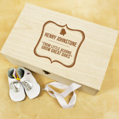 Wooden Baby Acorn Keepsake Box