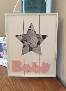 Wooden Girl Hanging Star Frame