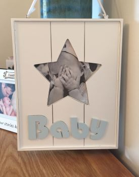 Wooden Boy Hanging Star Frame