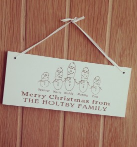 Snowman Family Christmas Sign