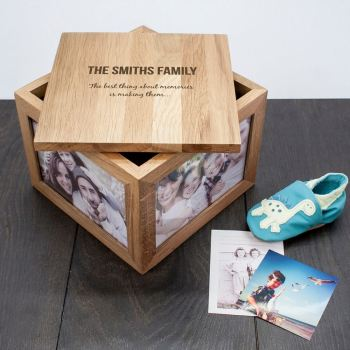 Family Solid Oak Personalised Keepsake Box