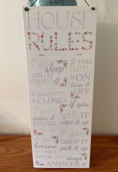 House Rules Floral Tin Plaque
