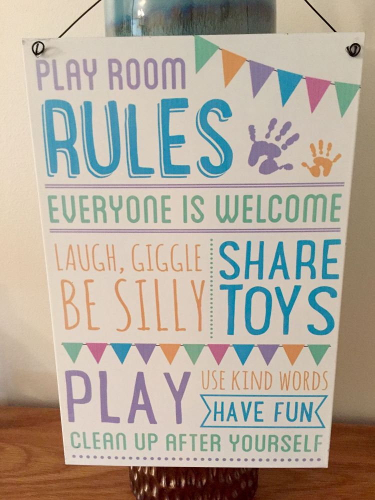 Pastel Playroom Rules Sign