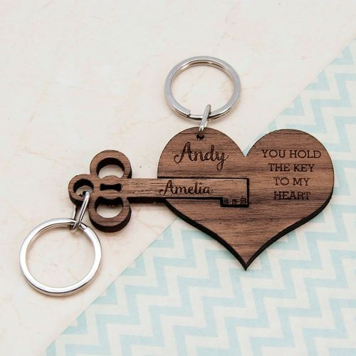 Key To My Heart Set Of 2 Keyrings