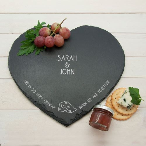 Life Is So Much Cheddar Slate Personalised Cheeseboard