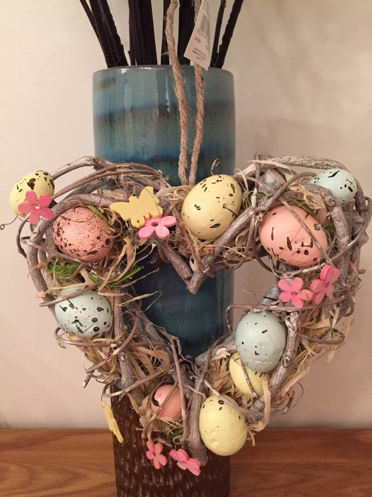 Easter Hanging Heart Wreath