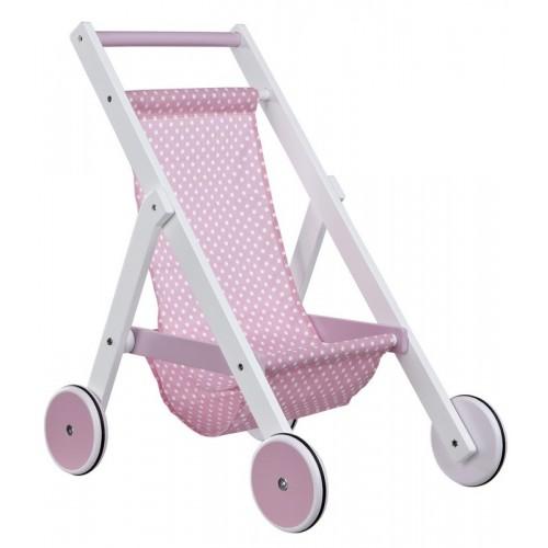 White & Pink Wooden Stroller