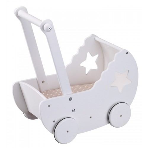 White Wooden Dolls Pram