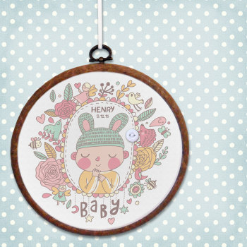 New Baby Personalised Embroidery Print