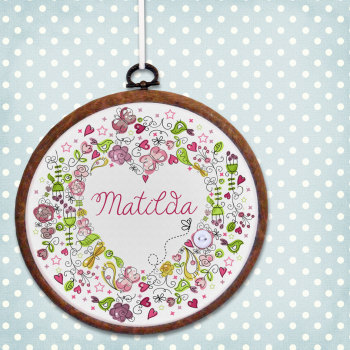 Name Heart Personalised Embroidery Print