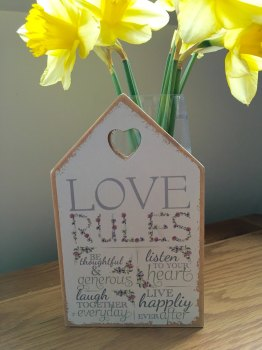 Love Rules House Shaped Plaque