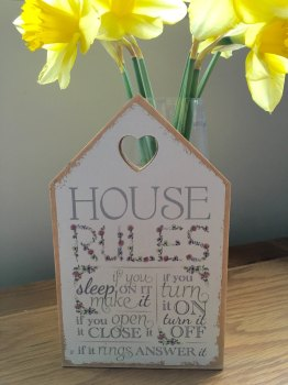 House Rules House Shaped Plaque