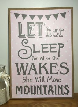 Let Her Sleep Pink Plaque
