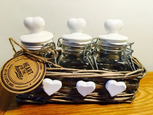 Spice Jars In Willow Basket