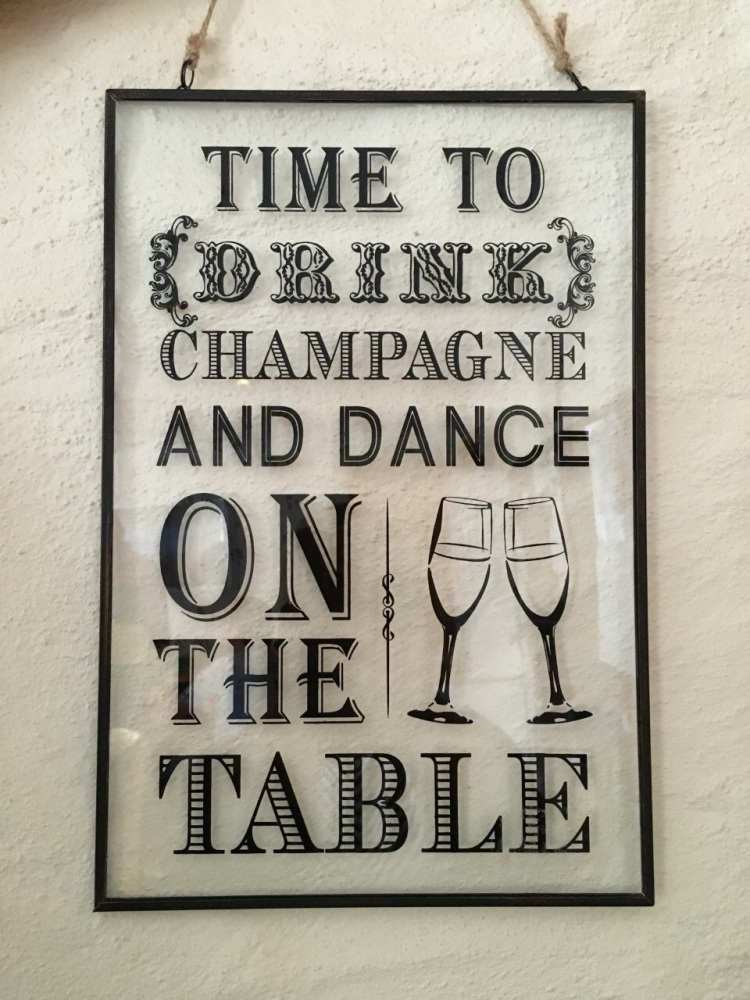 Time To Drink Champagne Glass Hanging Plaque