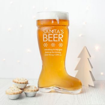 Personalised Large Santa's Boot Beer Glass (Holds 3.5 Pints)