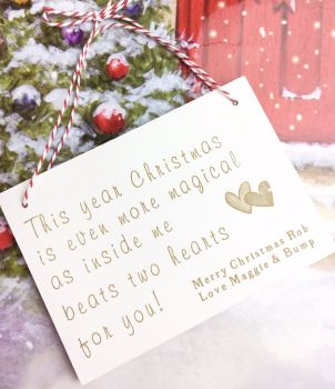 Daddy To Be Two Hearts Christmas Plaque