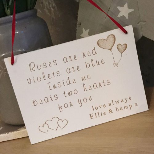 Daddy To Be Two Hearts Valentines Day Plaque