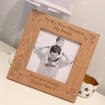 Daddy My First Valentine Oak Frame