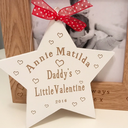 Daddys Little Valentine Hanging Star