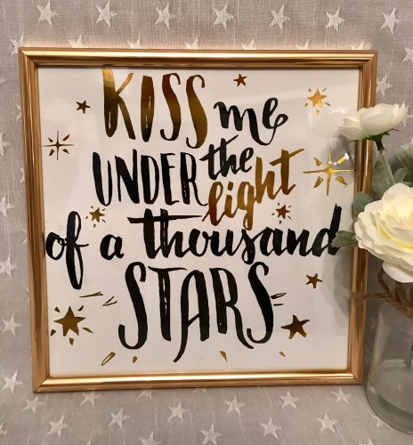 Kiss Me Under The Light Of A Thousand Stars Gold Framed Print
